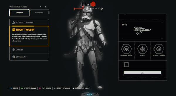 スターウォーズバトルフロント2のキャラクターカスタマイズ画面